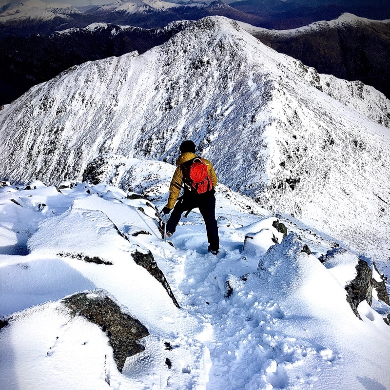 winter mountaineering on Bidean nam Bian Glen Coe