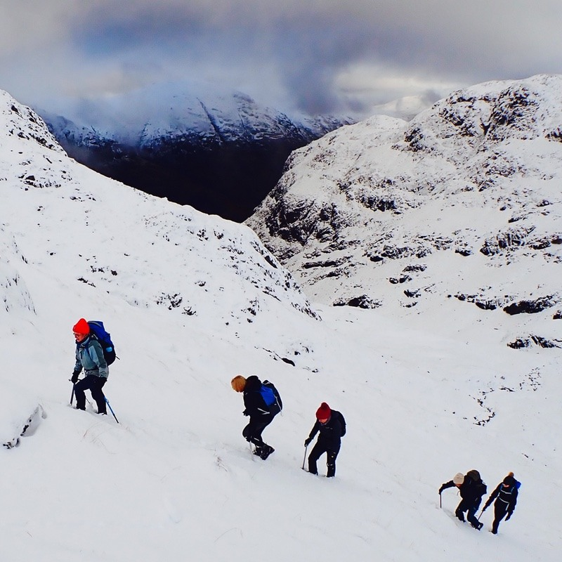 winter mountaineering Bidean nam Bian Glen coe Scotland