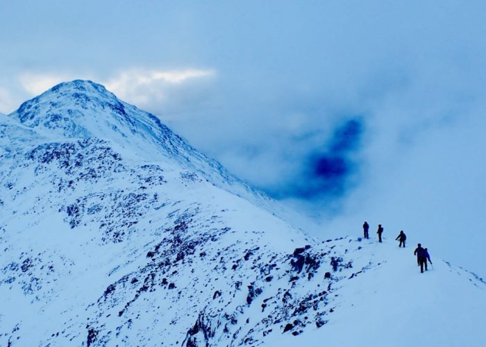 winter mountaineering Buachaille Etive Beag ridge Glen Coe Scotland