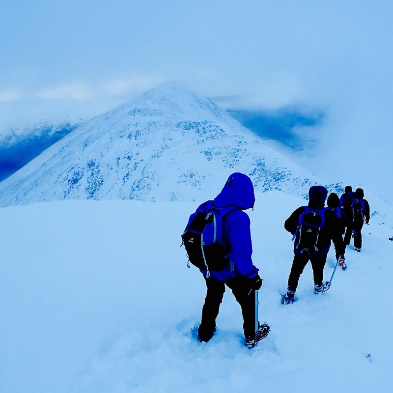 winter mountaineering Stob Dubh and Buachaille Etive Beag Glen Coe Scotland