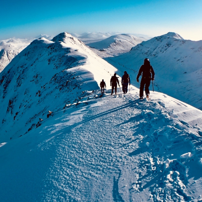 Winter mountaineering with Ocean Vertical in Glen Coe on Buachaille Etive Beag Scotland