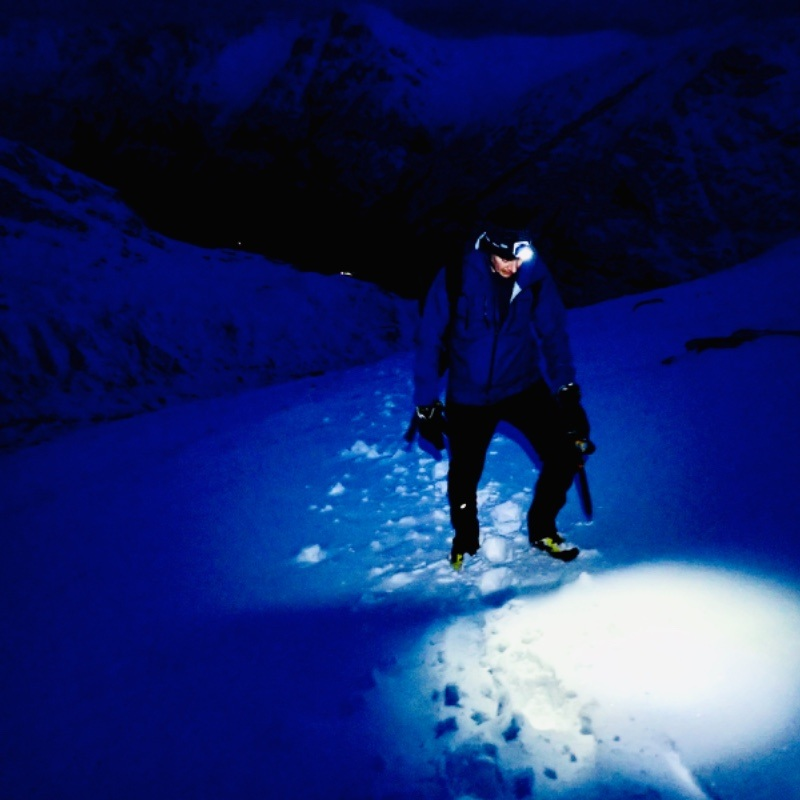 Winter night navigation skills in Glen Coe Buachaille Etive mor Scotland