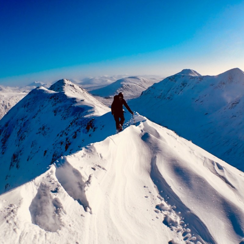 winter mountaineering in Glen Coe Buachaille Etive Beag Scotland