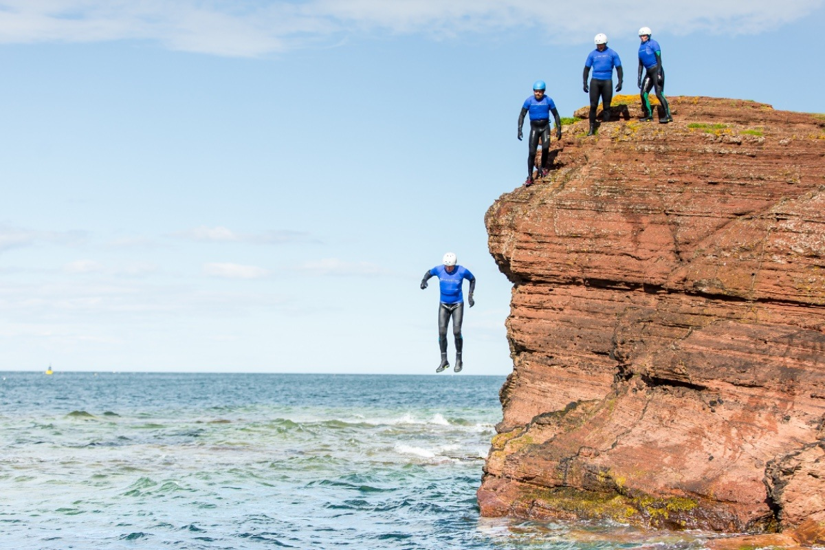 Coasteering in East Lothian at Seacliff Beach between Dunbat and North Berwick
