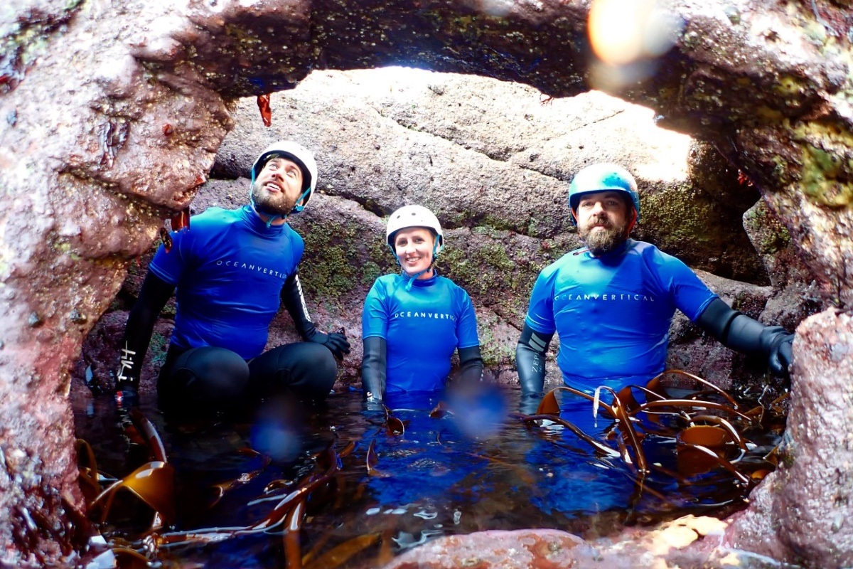 coasteering in dunbar east lothian with ocean vertical