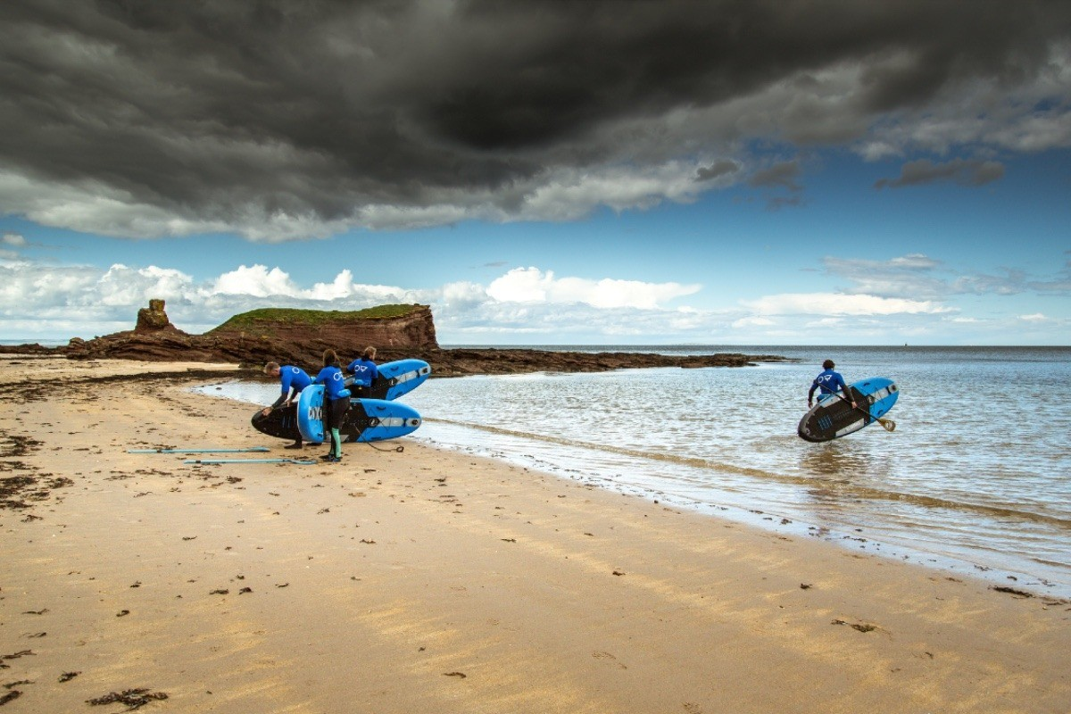 Paddle boarding sup adventures at Seacliff Beach in East Lothian