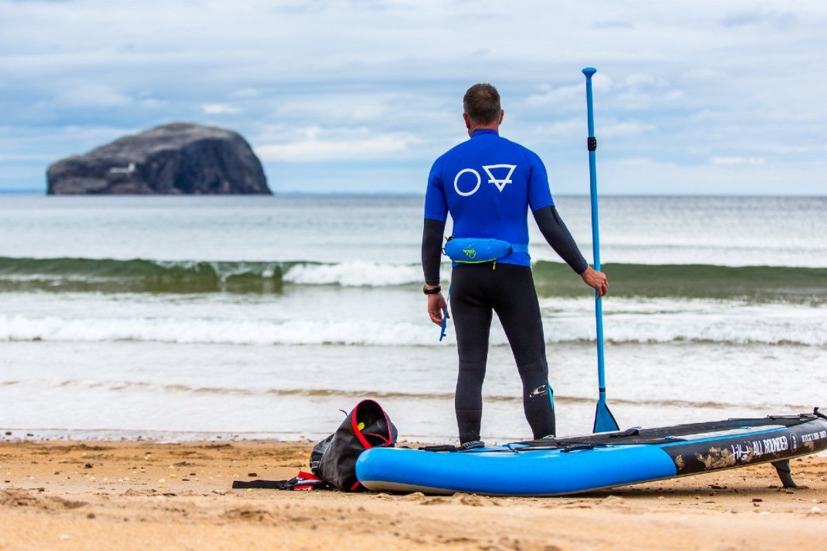 paddle boarding SUP by the Bass Rock and Seacliff Beach in East Lothian