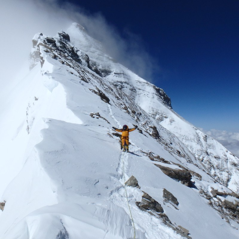 Mollie Hughes descending from the summit of Mount Everest 2017