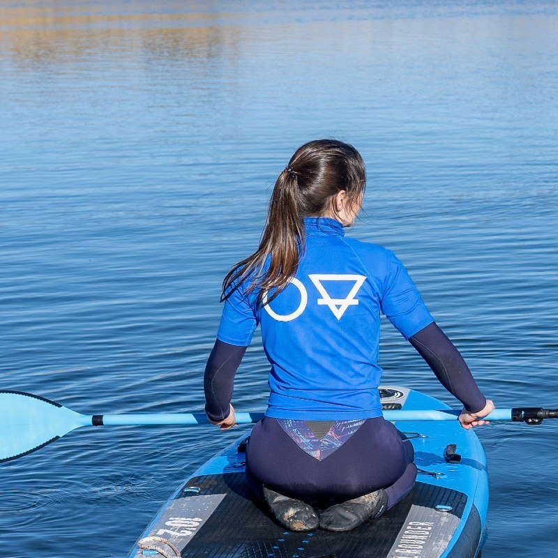 2 blue mind calm surface water relaxing and happiness satisfaction with life paddle board yoga in East Lothian